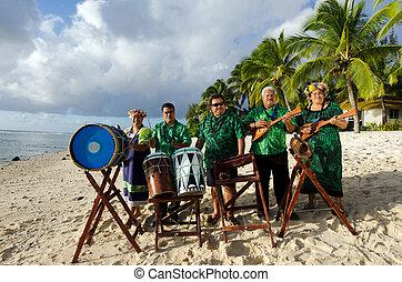 grupo, isla, pacífico, tahitiano, música, polynesian