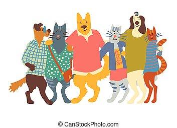 grupo, isole, gatos, white., animais estimação, abraços, amigos, cachorros