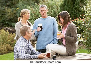 grupo, jardín, bebida, bar, aire libre, el gozar, amigos