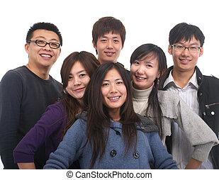 grupo, jovem, asiático