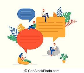 grupo jovens, comunicação, em, busca, de, idéias, resolver problema, conversando, brainstorming., apartamento, estilo, vetorial, ilustração