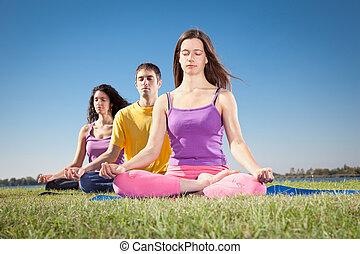 grupo jovens, ter, meditação, ligado, ioga, class.