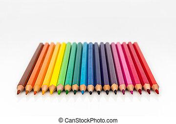 grupo, lápis, cor, vista, frente