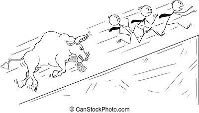 grupo, lejos, caricatura, cuesta arriba, corriente, levantamiento, hombres de negocios, toro, precios, enojado, símbolo, mercado