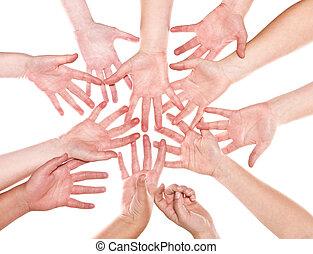grupo, mãos humanas