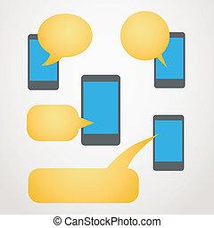 grupo, móvel, modernos, telefone, fala, nuvens, cor