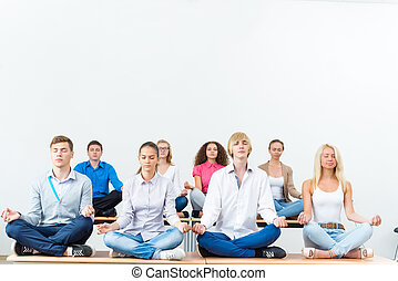 grupo, meditar, jovens