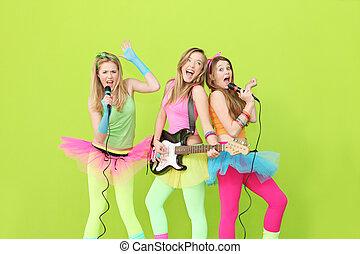 grupo, meninas, guitarra, faixa, menina, cantando, tocando
