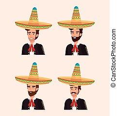 grupo, mexicano, mariachis, con, instrumentos
