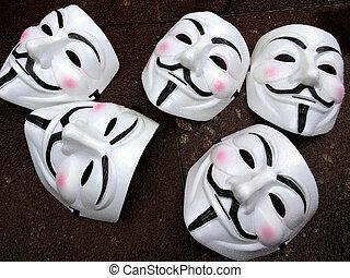grupo, miembros, fawkes, -, máscaras, anónimo, tipo