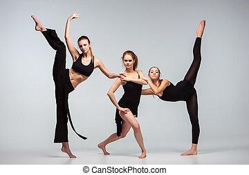 grupo, moderno, bailarines ballet