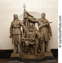 grupo, moscú, (metro)., escultural, metro, rusia