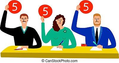 grupo, mostrar, jury., competição, problema, scorecards, vetorial, ilustração, juiz, opinião, sentando, estimativa, tabela
