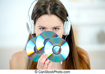 grupo, mulher segura, cds