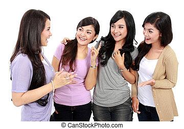 grupo mulheres, amigos, conversando
