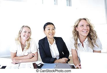 grupo, mulheres negócio
