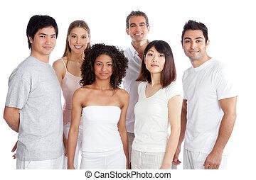 grupo, multiétnico, gente