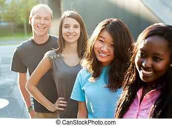 grupo, multi-étnico, adolescentes