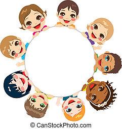 grupo, multi-étnico, crianças