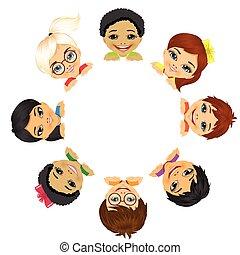 grupo multi étnico, de, crianças