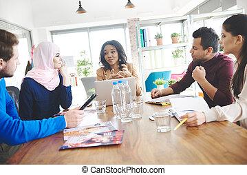 grupo multi étnico, ligado, reunião negócio