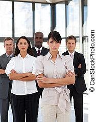 grupo, multi-racial, empresa / negocio, potrait