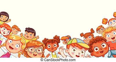grupo, multicultural, waving, câmera, crianças, feliz