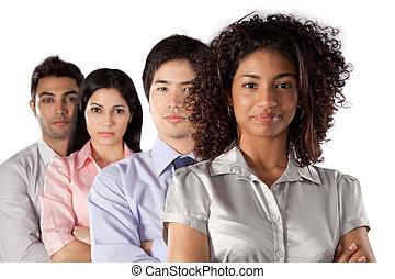 grupo, multiethnic, businesspeople