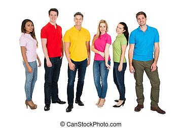 grupo, multiethnic, pessoas