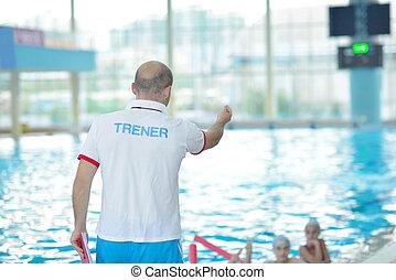 grupo, natação, crianças, piscina