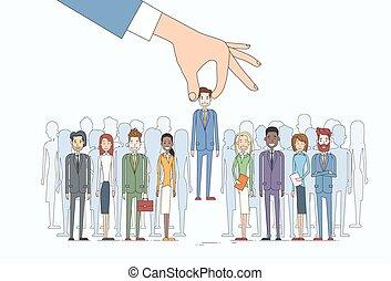 grupo, negócio, candidato, pessoas, recrutamento, mão, pessoa, colheita