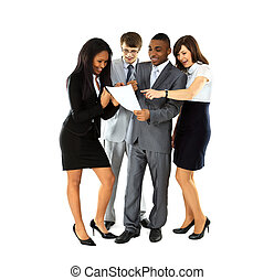 grupo, negócio, pessoas., isolado, experiência., businessman., branca