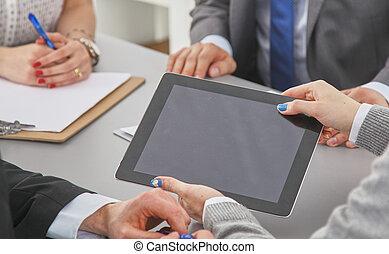 grupo, negócio, trabalhe pessoas, junto, tabela
