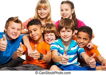 grupo, niñas, niños