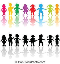 grupo, niños