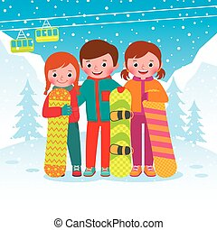 grupo, niños, snowboarders