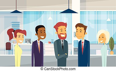 grupo, oficina, empresarios, businesspeople, diverso, equipo