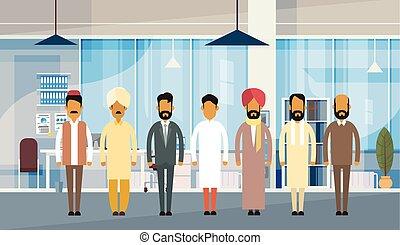 grupo, oficina, empresarios, india, tradicional, indio,...