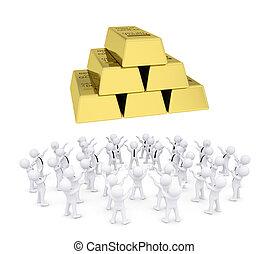 grupo, oro, gente, ladrillos, blanco, el adorarse
