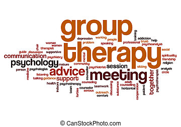 grupo, palavra, terapia, nuvem