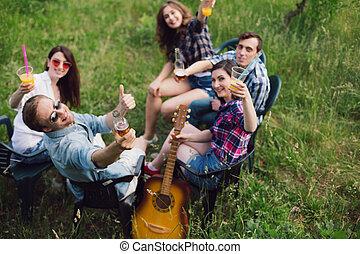 grupo, park., picnic, amigos, teniendo