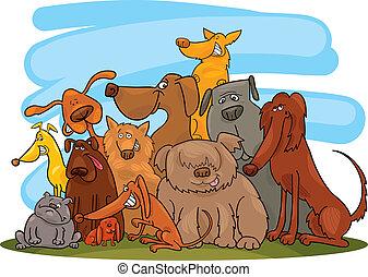 grupo, perros