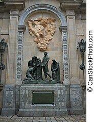 grupo, personas., viejo, monumento