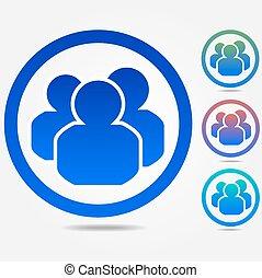 grupo, pessoas, ícone