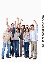 grupo, pessoas, alegrando
