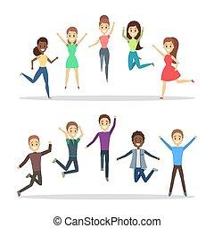grupo, pessoas, alegria, jumping., celebração, feliz