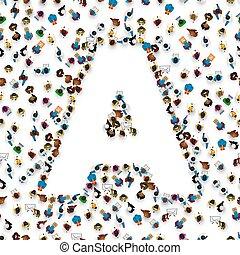 grupo, pessoas, alfabeto, a., forma, letra, inglês