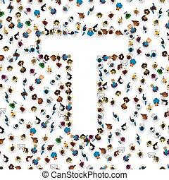 grupo, pessoas, alfabeto, t., letra, inglês