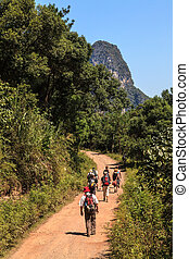 grupo pessoas, andar, através, pedra calcária, rocha, vale