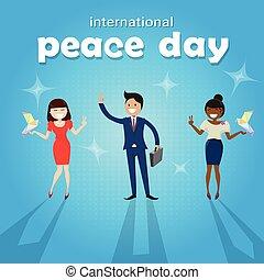 grupo, pessoas, cartaz, paz, diverso, internacional, feriado